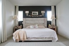 grey wall to draw interest; looks cute for a rustic romance bedroom