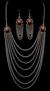 Egyptian Art Deco Style - Multi-Chain Necklace & Earrings Set in Antiqued Bronze...
