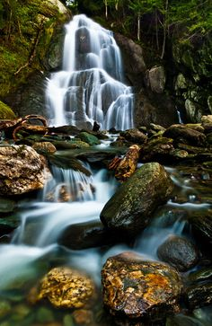 Moss Glen Falls by Andrew Stockwell, via 500px; Green Mountain National Forest, Granville, Vermont