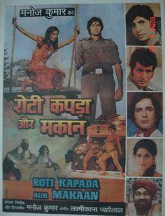 Roti Kapda Aur Makaan (1974), Amitabh Bachchan, Classic, Indian, Bollywood, Hindi, Movies, Posters, Hand Painted