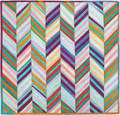 Robert Kaufman Artisan Batiks Elemental Stripes Sherbert Herringbone Quilt Kit 24 x 24 | Precuts