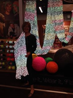 We had fun at CHA with Ursula from @Toni Hadad showing off Red Heart's new #Reflective yarn. #makeitwearitflashit