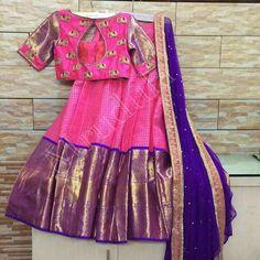 Kids Lehenga Choli, Half Saree Lehenga, Saree Dress, Half Saree Designs, Sari Blouse Designs, Lehenga Designs, Blouse Patterns, Indian Dresses, Indian Outfits