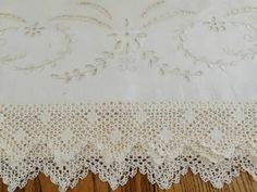 Superb Antique French Linen Broderie Anglaise BRIDAL Lace Pillowcases Vintageblessings $48