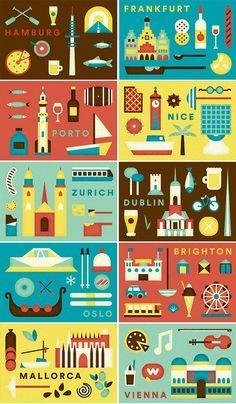 Airbnb European city illustrations