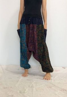 Mixed Colors  Hippie Harem Pants, Unisex Pants, Drop Crotch Pants, Baggy Pants with Om patterned (HR-588) by ThaiFascinate on Etsy