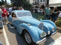Blue 1937 Bugatti Type 57C Atalante Coupe