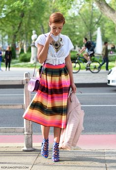 street style look in striped midi skirt, lace up sandals and white tee. Summer women fashion @roressclothes closet ideas