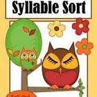 Syllable Sort Fall Owls Themed Center Game for Common Core! Differentiate your classroom by using this game three ways: 1. one and two word sort 2....