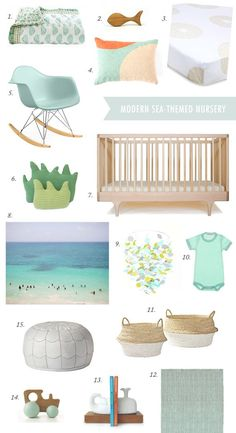 Modern sea-theme nursery board | Let the ocean inside with gorgeous shades of aqua and turquoise, creating a calming space for any baby's room. via 100 Layer Cakelet