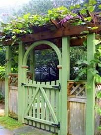 Garden Gate Arbors Designs wood arbor with a scalloped double gate wood semi private fence by elyria fence Displaying Pictures Of Beautiful Garden Gates For Homes Youll Find Lots Of Inspiration