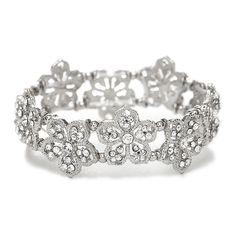 Black Diamond Filigree Flowers Stretch Bracelet for Prom or Homecoming