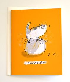 Hey, I found this really awesome Etsy listing at https://www.etsy.com/listing/286250601/i-knead-you-funny-cat-card-love-card