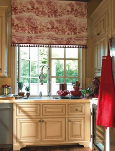 Red Toile Curtains Yellow Gold Walls