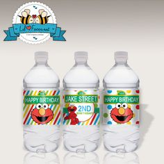 INSTANT DOWNLOAD - 3X Editable Sesame Street Birthday Party Water Bottle Label - Napkin Ring - Personalized Supplies - Elmo Printable PDF on Etsy, $5.95