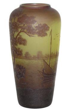 Val St Lambert Lake Scene Cameo Glass Vase