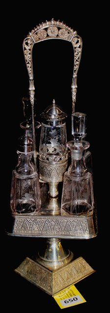 SIMPSON, HALL, MILLER AND CO. SILVER PLATE SQUARE FIVE BOTTLE CRUET HOLDER WITH MATCHING BOTTLES, CENTER BOTTLE FITS IN CENTER OF FRAME  -  LIVEAUCTIONEERS Condiment Sets, Antique Glassware, Silver Plate, Bottles, Auction, Porcelain, Victorian, Pottery, Antiques