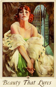 Rolf Armstrong - Beauty that lures... From a 1923 Palmolive ad.