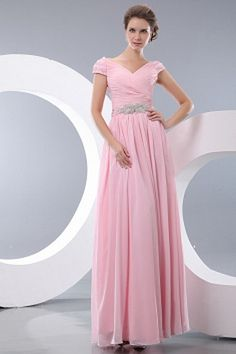 Buy new ruched v neck pink cap sleeves long womens day holiday dresses from best seller holiday dress collection, v neck neckline empire in pink rose pink color,cheap floor length dress with side zipper back and for prom holiday formal evening . Wholesale Prom Dresses, Cheap Prom Dresses Online, Pink Bridesmaid Dresses, Wedding Dresses, Party Dresses, Celebrity Gowns, Prom Dress Shopping, Chiffon, Holiday Dresses