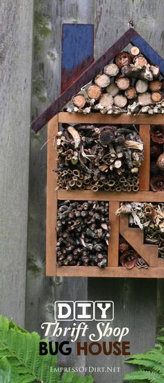 DIY Thrift shop bug house - make your own with a repurposed shelf and natural materials to attract beneficial insects to your garden. Kat Morris Realtor Your Property Matters LLC Bug Hotel, Garden Bugs, Garden Care, Outdoor Projects, Garden Projects, Garden Ideas, Mason Bees, Backyard Paradise, Beneficial Insects