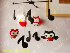 music note and owl mobile. perfect for our owl/music nursery!