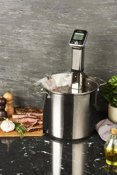 Cheers to the weekend with some steaks made with your Sous Vide Immersion Circulator! Marinate your meat overnight to lock in flavours, seal tightly in a plastic bag, and add to a water bath with the circulator ready to go! Sous Vide Immersion Circulator, Parsnip Puree, Sous Vide Cooking, Cooking Temperatures, Professional Chef, Essentials, Steaks, Consistency, Cheers