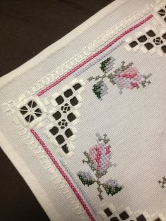 Small Hardanger embroidered linen tablecloth. Scandinavian handcraft.