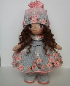 Amigurumi doll softies crochet free patterns by lumi papillon en papierThis Pin was discovered by Све Crochet pattern for doll YUNA pdf Deutsch English Oh my gosh. I love all her cherry blossoms! And the fact that she has dark hair is pulling at m Crochet Doll Clothes, Knitted Dolls, Crochet Dolls, Crochet Baby, Knit Crochet, Crochet Doll Pattern, Crochet Patterns Amigurumi, Amigurumi Doll, Fabric Dolls