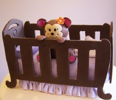 close up of baby monkey and crib by cakespace - Beth (Chantilly Cake Designs), via Flickr