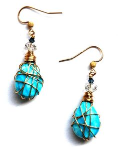 14k Gold Filled Wire Wrapped Earrings with Faceted by RawLuxGems, $26.00