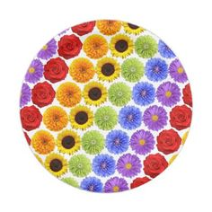 Rainbow Flowers Floral Stripe Paper Plates - paper gifts presents gift idea customize