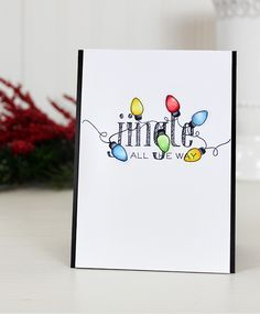 Christmas Lights card by Dawn Woleslagle for Wplus9 featuring the Festive Greetings stamp set.