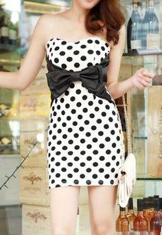 Polka Dots Bowknot Belted Sweetheart Neckline Boob Tube Dress [grzxy6601319]