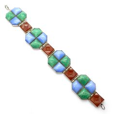 Vintage Art Deco 'Carpet Of Gems' Chalcedony Carnelian & Peking Glass Panel Bracelet | Clarice Jewellery | Vintage Costume Jewellery