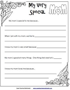 """My Very Special Mom"" writing project"