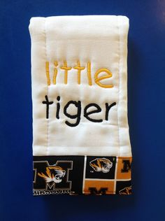 Baby personalized embroidered burp cloths, MU, little Tiger, burp cloths . $8.00, via Etsy.
