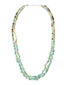 Panacea Mixed Double-Strand Amazonite Bead Necklace, Mint (Green)