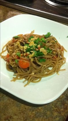 Daniel fast spicy Thai noodles meal