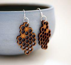Laser Cut Cherry Wood Honeycomb Earrings