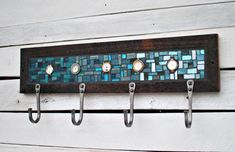 Teal Blue Mosaic Coat Rack with reclaimed watch faces by Johannah Willsey and Kyle Lucia of Phoenix Handcraft Tile Crafts, Mosaic Crafts, Mosaic Projects, Blue Mosaic, Mosaic Diy, Mosaic Tiles, Entryway Coat Hooks, Mosaic Furniture, Reclaimed Wood Frames