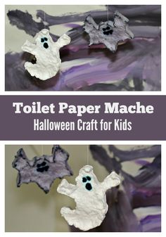 Simple Halloween Craft for kids! Toilet paper mache ghosts and bats!