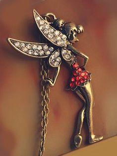 Vintage Red Tinkerbell Fairy Neckpiece