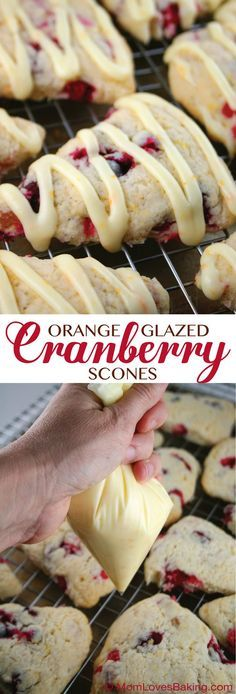 Orange Glazed Cranberry Scones with apricots. They're soft, sweet and citrus-y. Not dense and bready like a lot of scones can be. #scones use gf flour
