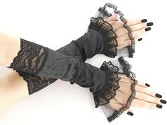 long black gray fingerless gloves arm warmers by FashionForWomen
