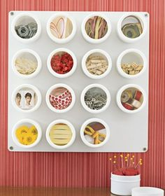 """Use Spice Containers - These squat, clear-topped jars (sold at kitchen supply stores) can keep the loose bits that accumulate on your desktop & in your drawers—stamps, Post-it notes, paper clips, rubber bands, etc., etc., etc.—under control. (""""18 Clever Organizing Tricks,"""" Real Simple)"""