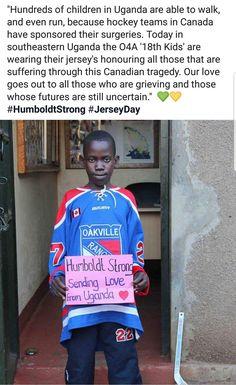 From Uganda to honour the Humboldt Broncos ♥ Hockey Goalie, Hockey Mom, Hockey Teams, Hockey Players, Ice Hockey, Hockey Stuff, Hockey Boards, Carolina Hurricanes, Faith In Humanity Restored