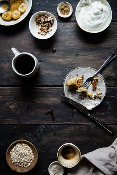 Brown butter-oat pancakes with caramelized bananas and bourbon whip.