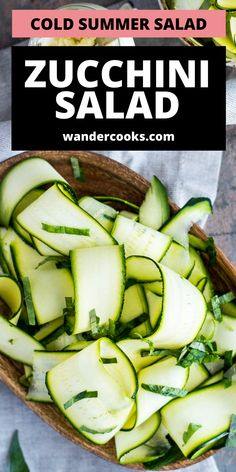 Just 4 ingredients are needed for this light and refreshing Raw Zucchini Salad (also known as Salade de Courgettes). It's such an easy cold salad recipe, you can whip it up in just 5 minutes! Enjoy as a healthy lunch or side Summer salad. Easy Summer Salads, Summer Salad Recipes, Easy Salad Recipes, Easy Salads, Easy Dinner Recipes, Vegetarian Recipes, Raw Zucchini Salad, 5 Minute Meals, Dinner Salads