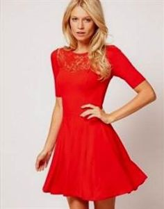 Cool red lace skater dress 2017-2018