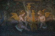 dettaglio degli affreschi della Camera d'oro (1452) - Benedetto Bembo (1423-1489) - Castello di Torrechiara